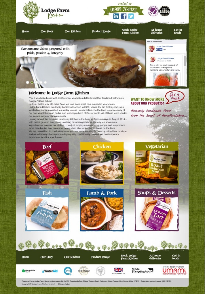 Creating Media client work - Lodge Farm Kitchen website