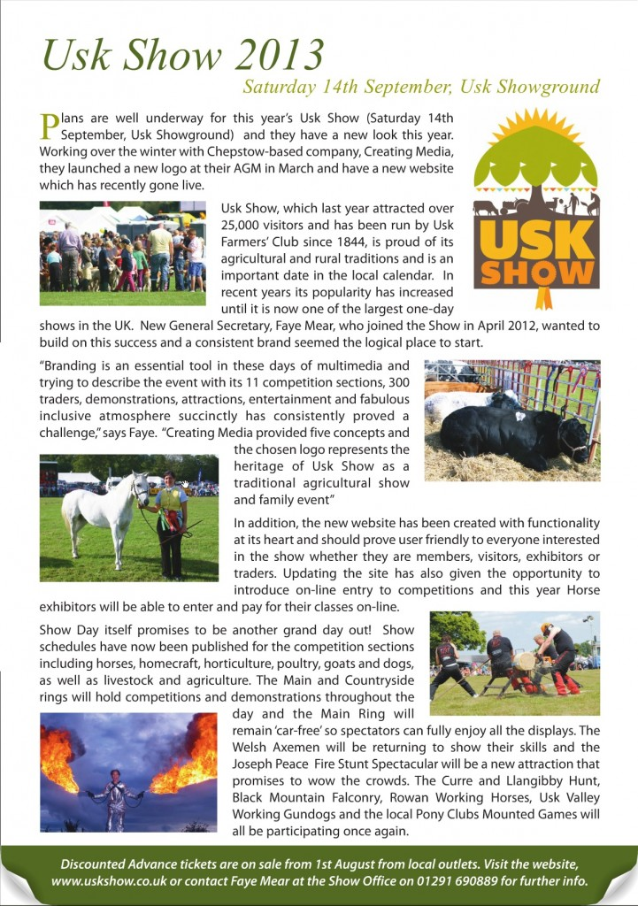 Creating Media and Usk Show in Chepstow Voice Magazine